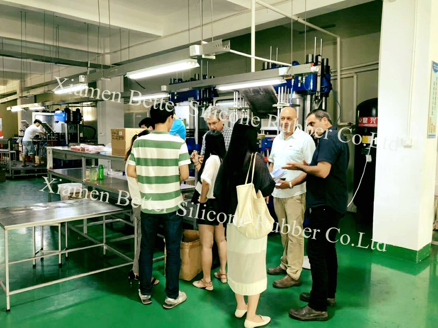 Our Israeli customer came to our silicone rubber factory for the second time to inspect